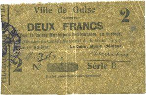 10.2.1915 FRANZÖSISCHE NOTSCHEINE Guise (02). Ville. Billet. 2 francs 10.2.1915, série B ss