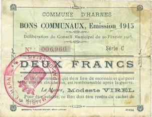 20.2.1915 FRANZÖSISCHE NOTSCHEINE Harnes (62). Commune. Billet. 2 francs 20.2.1915, série C Déchirure (10 mm), s