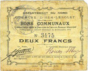 1914-12-20 FRANZÖSISCHE NOTSCHEINE Hem-Lenglet (59). Commune. Billet. 2 francs 20.12.1914 sge