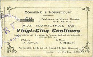 11.5.1915 FRANZÖSISCHE NOTSCHEINE Honnecourt (59). Commune. Billet. 25 centimes 11.5.1915 ss / s-ss