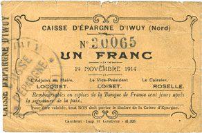 1914-11-19 FRANZÖSISCHE NOTSCHEINE Iwuy (59). Caisse d'Epargne. Billet. 1 franc 19.11.1914 s+ / s