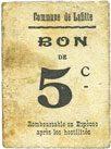 FRANZÖSISCHE NOTSCHEINE Lafitte (47). Commune. Billet. 5 centimes Taché, s