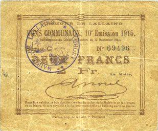 1914-11-13 FRANZÖSISCHE NOTSCHEINE Lallaing (59). Commune. Billet. 2 francs 13.11.1914, 10e émission 1915, série C Petite tache, ss