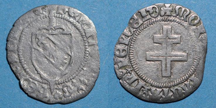 1473-1508 LOTHRINGEN Duché de Lorraine. René II d'Anjou (1473-1508). Blanc. Nancy Variété inédite ! s / s+