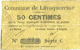 15.6.1915 FRANZÖSISCHE NOTSCHEINE Lavaqueresse (02). Commune. Billet. 50 centimes 15.6.1915, série C s+