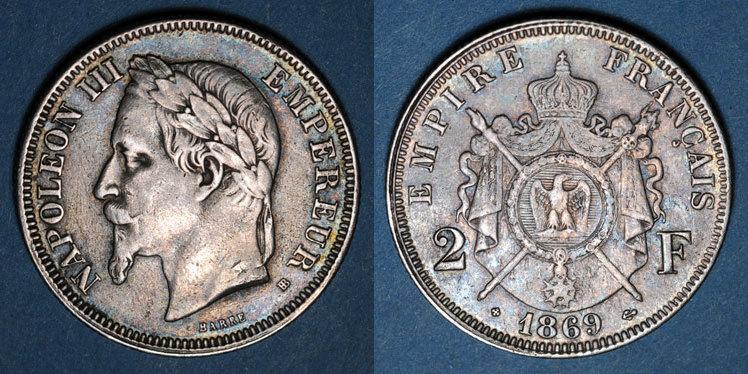 1869 BB FRANZÖSISCHE MODERNE MÜNZEN 2e empire (1852-1870). 2 francs, tête laurée, 1869BB. Strasbourg s-ss