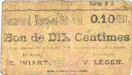FRANZÖSISCHE NOTSCHEINE Marcq-en-Ostrevent (59). Commune. Billet. 10 centimes, série AA sge
