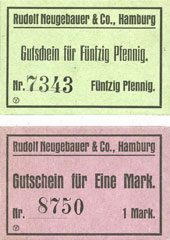 DEUTSCHLAND - NOTGELDSCHEINE (1914-1923) A - J Hamburg. Neugebauer & Co. Rudolf. Billets. 50 pf, 1 mark 2 billets neufs