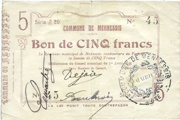 1.4.1915 FRANZÖSISCHE NOTSCHEINE Mennessis (02). Billet. 5 francs 1.4.1915, série A 20 s-ss