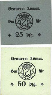 DEUTSCHLAND - NOTGELDSCHEINE (1914-1923) A - J Hassloch. Löwer Joh.. Brauerei und Weinkellerei. Billets. 25, 50 pf sans cachet ni signature au dos 2 billets neufs