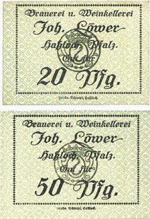 DEUTSCHLAND - NOTGELDSCHEINE (1914-1923) A - J Hassloch. Löwer Joh.. Brauerei und Weinkellerei. Billets. 20 pf, 50 pf, sans signature 2 billets neufs