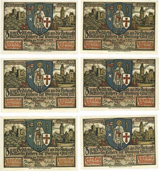 1921 DEUTSCHLAND - NOTGELDSCHEINE (1914-1923) A - J Eisenach. Stadt. Série de 6 billets. 50 pfennig 1921 Série de 6 billets neufs