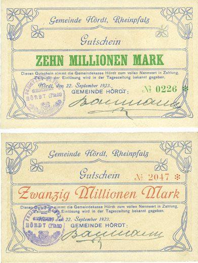 22.9.1923 DEUTSCHLAND - NOTGELDSCHEINE (1914-1923) A - J Hordt. Gemeinde. Billets. 10 millions mark, 20 millions mark 22.9.1923 2 billets neuf et vz+
