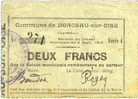 8.9.1915 FRANZÖSISCHE NOTSCHEINE Monceau-sur-Oise (02). Commune. Billet. 2 francs 8.9.1915, série C Trace de jaunissement, ss