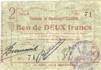 30.9.1915 FRANZÖSISCHE NOTSCHEINE Montescourt-Lizerolles (02). Commune. Billet. 2 francs 30.9.1915, série 8 ss