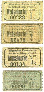 DEUTSCHLAND - NOTGELDSCHEINE (1914-1923) K -Z Kiel. Allgemeiner Konsumverein für Kiel und Umg. e.G.m.b.H. Billets. 1 pf, 2 pf, 5 pf, 10 pf 4 billets, s-ss, TTB, TTB+, déchirure (6 mm) TB+