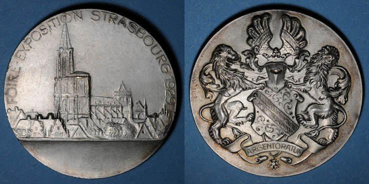 1929 ELSAß Alsace. Strasbourg. Foire-exposition. 1929. Médaille bronze argenté. 49,4 mm. Gravée par Ch. Müller ss