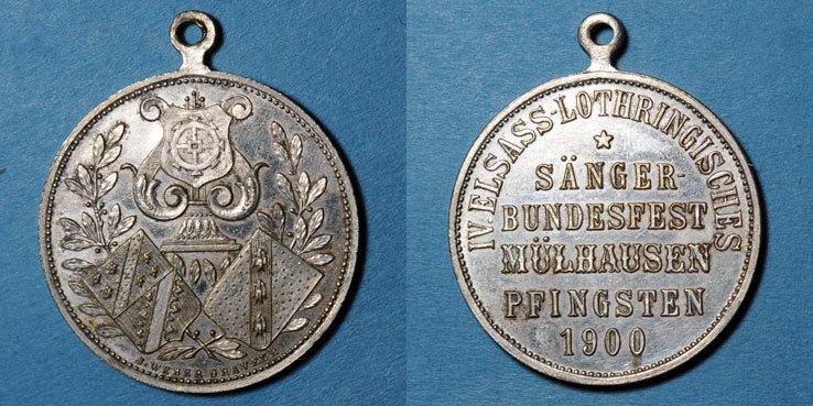 1900 ELSAß Alsace. Mulhouse. 4e festival des chorales d'Alsace-Lorraine. 1900. Médaille en bronze argenté 28 mm vz
