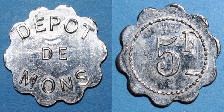 FRANZÖSISCHE NOTMÜNZEN Le Puy (43). Dépot de Mons (prisonniers de Guerre). 5 francs vz