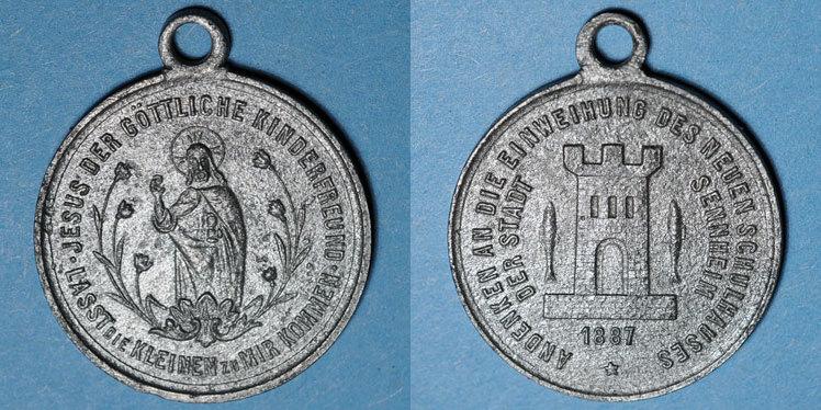 1887 ELSAß Alsace. Cernay. Inauguration de la nouvelle école. 1887. Médaille étain. 28,7 mm Corrodée, s+