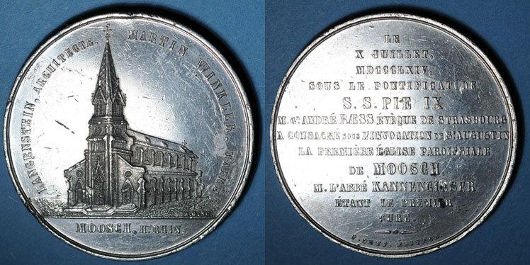 1864 ELSAß Alsace. Moosch. Consécration de l'église St Augustin. 1864. Médaille étain. 51 mm Petit coup / tranche, ss