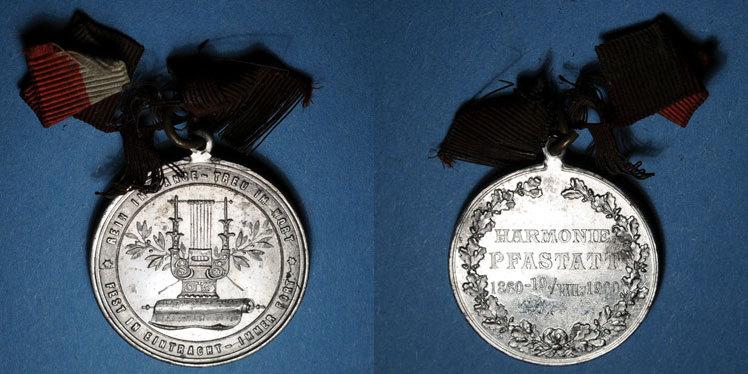 1900 ELSAß Alsace. Pfastatt. Harmonie. 1900. Médaille étain nickelé. 31 mm ss-vz / ss