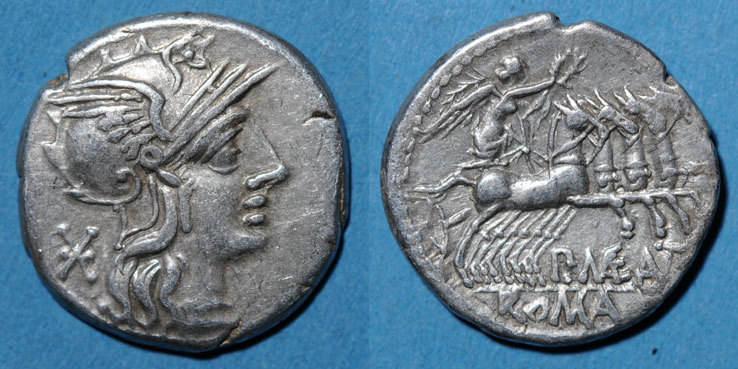 vers 132 av. J-C RÖMISCHE REPUBLIK République romaine. P. Maenius Antiaticus (vers 132 av. J-C). Denier ss