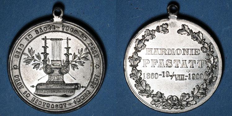 1900 ELSAß Alsace. Pfastatt. Harmonie. 1900. Médaille étain nickelé. 31 mm ss-vz