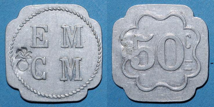 FRANZÖSISCHE NOTMÜNZEN Saint-Hippolyte-du-Fort (30). E. M. C. M. (Ecole Militaire Coopétative Militaire). 50 centimes ss+