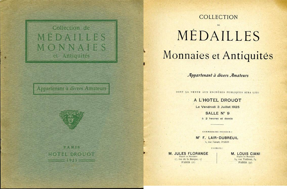 1925-07-03 NUMISMATIKBÜCHER Florange / Ciani, Paris, vente aux enchères 03.07.1925 Très bon état.