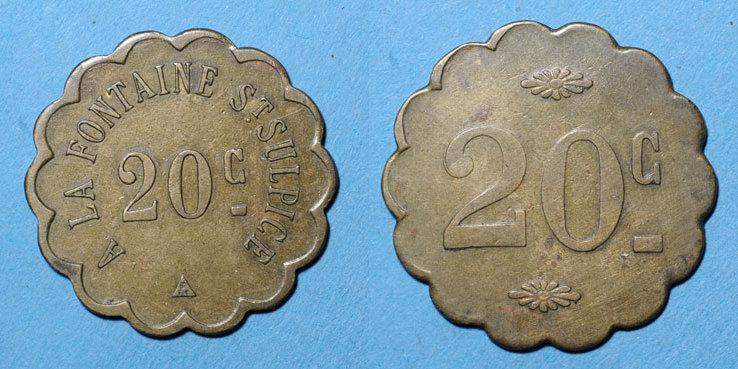 FRANZÖSISCHE NOTMÜNZEN Paris (75). Maîtrise St Sulpice. 5 centimes ss