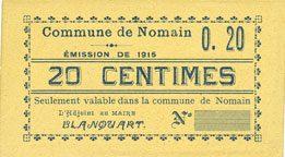 1915 FRANZÖSISCHE NOTSCHEINE Nomain (59). Commune. Billet. 20 centimes, émission 1915 I