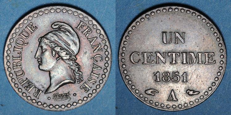 1851 A FRANZÖSISCHE MODERNE MÜNZEN 2e république (1848-1852). 1 centime 1851A ss-vz