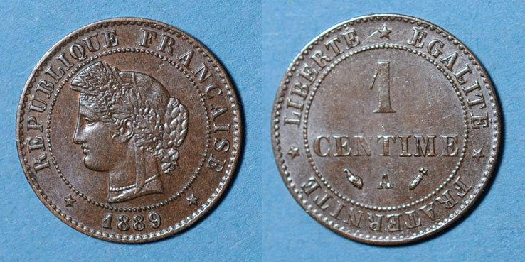 1889 A FRANZÖSISCHE MODERNE MÜNZEN 3e république (1870-1940). 1 centime Cérès, 1889A ss-vz