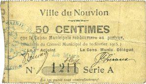 10.2.1915 FRANZÖSISCHE NOTSCHEINE Le Nouvion (02). Ville. Billet. 50 centimes 10.2.1915, série A, parenthèse fermée s+ / s
