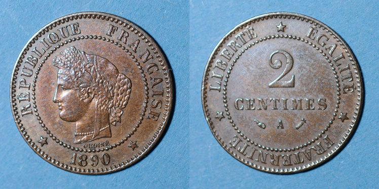 1890 A FRANZÖSISCHE MODERNE MÜNZEN 3e république (1870-1940). 2 centimes Cérès, 1890A Très petit choc / tranche, ss+