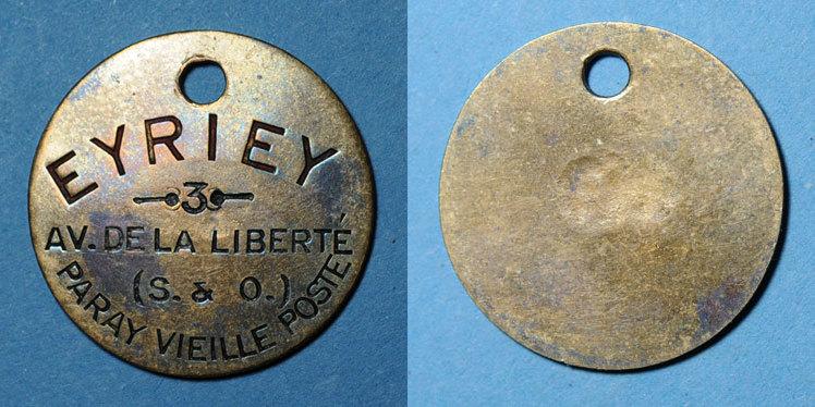 MARKEN - JETONS (RECHENPFENNIGE) Paray-Vieille-Poste (91). Eyriey (3 av de la Liberté). Jeton publicitaire ss