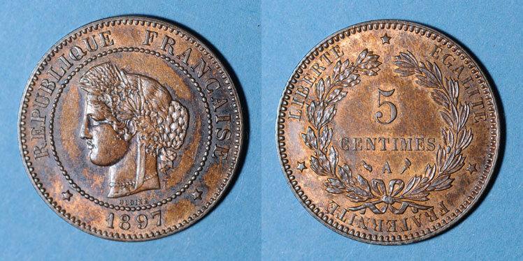 1897 A FRANZÖSISCHE MODERNE MÜNZEN 3e république (1870-1940). 5 centimes Cérès, 1897A. Torche Patine irrégulière à l'avers, vz