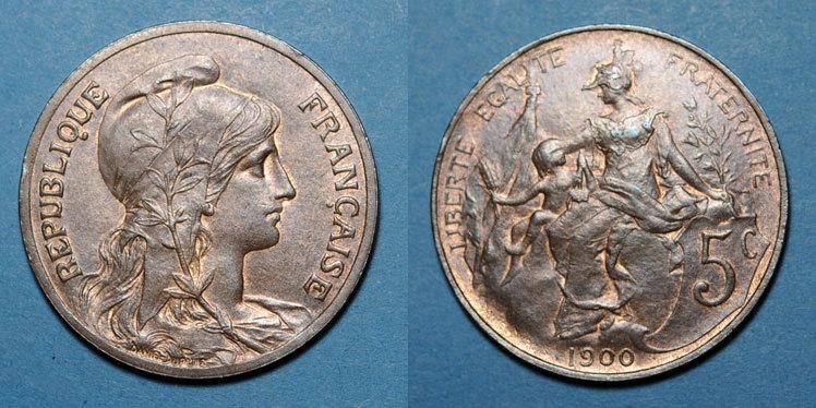 1900 FRANZÖSISCHE MODERNE MÜNZEN 3e république (1870-1940). 5 cmes Dupuis, 1900 Très léger choc / tranche, ss-vz