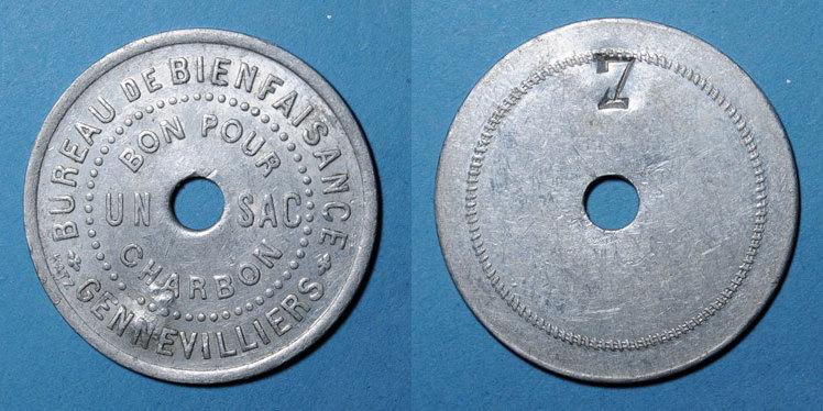 FRANZÖSISCHE NOTMÜNZEN Gennevilliers (92). Bureau de Bienfaisance.