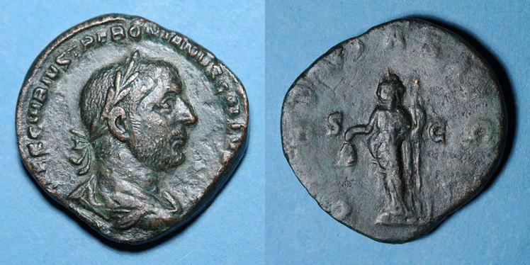 251-252 n. Chr. RÖMISCHE KAISERZEIT Trébonien Galle (251-253). Sesterce. Rome, 251-252. R/: la Liberté ss / s+
