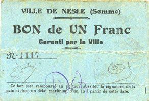FRANZÖSISCHE NOTSCHEINE Nesle (80). Ville. Billet. 1 franc ss
