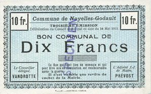 16.5.1915 FRANZÖSISCHE NOTSCHEINE Noyelles-Godault (62). Commune. Billet. 10 francs 16.5.1915, 3e émission, spécimen vz+