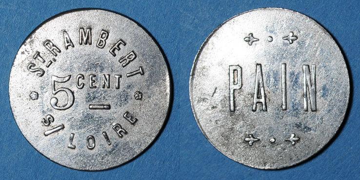 FRANZÖSISCHE NOTMÜNZEN Saint-Just-Saint-Rambert (42). Saint Rambert S/Loire. 5 centimes / pain ss