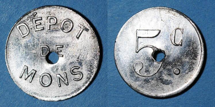 FRANZÖSISCHE NOTMÜNZEN Le Puy (43). Dépot de Mons (prisonniers de Guerre). 5 centimes ss-vz