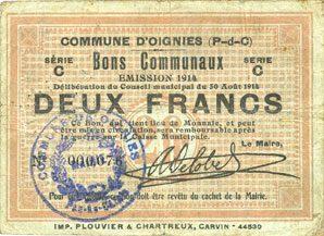 30.8.1914 FRANZÖSISCHE NOTSCHEINE Oignies (62). Commune. Billet. 2 francs 30.8.1914, série C Nombreux trous d'épingle, s