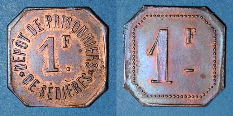 FRANZÖSISCHE NOTMÜNZEN Clergoux (19). Dépôt de Prisonniers de Sédières. 1 franc ss-vz