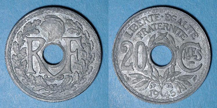 1945 FRANZÖSISCHE MODERNE MÜNZEN Gouvernement provisoire (1944-47), 20 cmes 1945 ss+