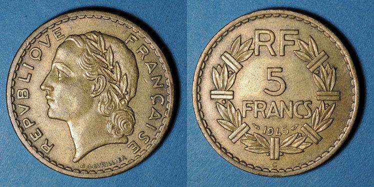 1945 C FRANZÖSISCHE MODERNE MÜNZEN Gouvernement provisoire (1944-47), 5 francs Lavrillier bronze d'aluminium 1945C ss