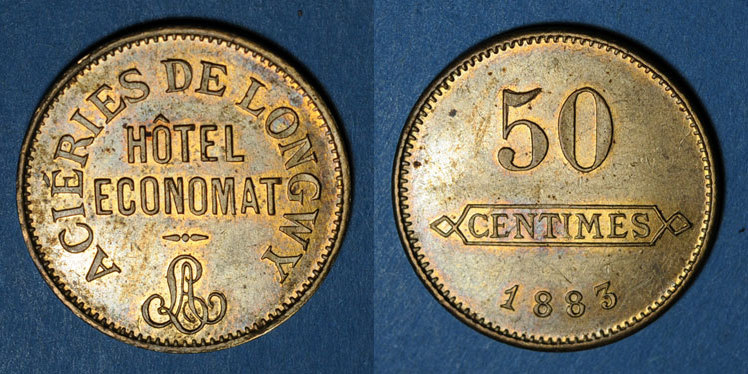 1883 FRANZÖSISCHE NOTMÜNZEN Longwy (54). Aciéries de Longwy - Hôtel Economat. 50 centimes 1883 ss+